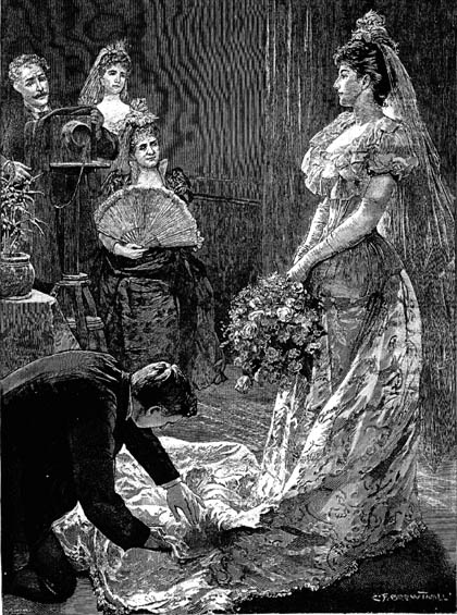 "The Drawing-room: Photographing a Debutante"" appeared in The Illustrated London News, 20 May 1893 and gives a realistic impression of a photographic impression in a studio, such as Lafayette. In this case the photographer directs the shoot from behind the camera, which was not always the case as studios came to offer a ""style of photograph"" as opposed to a photograph taken by a named photographer."