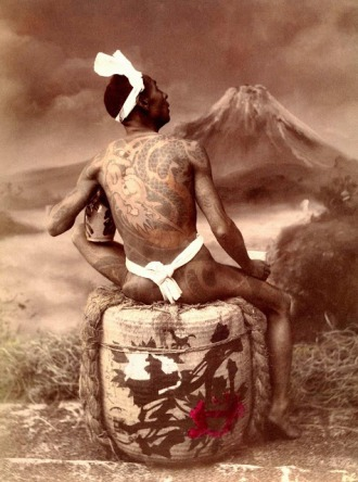 Gazing at Mt Fuji with Irezumi on his back