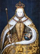 Portrait of Elizabeth I of England in her coronation robes. Copy c. 1600–1610 of a lost original of c. 1559.[1] The pose echoes the famous portrait of Richard II in Westminster Abbey, the earliest known portrait of a British sovereign.