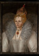A painting of a sixtysomething Queen Elizabeth I, depicting her with facial wrinkles, is being exhibited at the Folger Shakespeare Library in Washington, DC. Produced by the studio of Gheeraerts in the early-mid 1590s, the painting now owned by the Elizabethan Gardens in North Carolina's Outer Banks, is having its first public showing after conservation and authentication in 2010-2011. The exhibition's co-curator, Thomas Herron, an author and English professor at East Carolina University, noted that the reason for the portrait's obscurity may lie in Elizabeth's efforts to control her image. And according to Anna Riehl, author of The Face of Quee