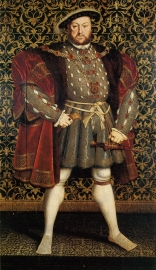 """The Portrait of Henry VIII is the now-legendary full-length portrait of Henry VIII by Hans Holbein the Younger. Now lost to us due to its destruction by fire in 1698, our understanding of the portrait comes from a myriad of impressive copies of the original work. The portrait was carefully devised to portray Henry in an idealized way, showing him as the """"Renaissance man"""" he imagined himself to be. The Chatsworth Portrait copy was done by Hans Eworth, c. 1560-73 in the reign of Queen Elizabeth I. It was probably commissioned by William Cavendish and resides in Chatsworth House in Derbyshire."""
