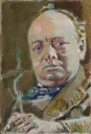 Winston Churchill's must be the most famous face of the twentieth century, wreathed in cigar smoke and with his look of formidably aggressive determination. Sickert caught his character well in this sketch undertaken when Churchill was Chancellor of the Exchequer. At the time, Sickert was giving Churchill painting lessons at the latter's house, Chartwell in Kent. Sickert worked chiefly from photographs in this period, allowing him to paint portraits without commissions or sittings, but Churchill may have sat for him on one of these occasions. Churchill himself disliked the portrait and gave it away soon after it had been presented to him.