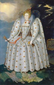 Queen Elizabeth I ('The Ditchley portrait') by Marcus Gheeraerts the Younger, oil on canvas, circa 1592 Known as the 'Ditchley Portrait', this painting was produced for Sir Henry Lee who had been the Queen's Champion from 1559-90. It probably commemorates an elaborate symbolic entertainment which Lee organised for the Queen in September 1592, and which may have been held in the grounds of Lee's house at Ditchley, near Oxford, or at the nearby palace at Woodstock.. After his retirement in 1590 Lee lived at Ditchley with his mistress Anne Vavasour. The entertainment marked the Queen's forgiveness of Lee for becoming a 'stranger lady's thrall'. The portrait shows Elizabeth standing on the globe of the world, with her feet on Oxfordshire.