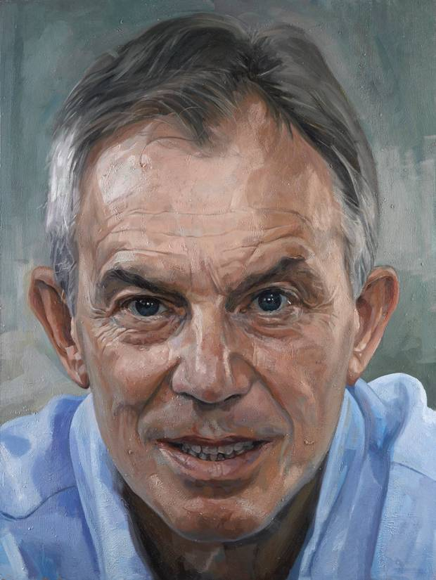 """The four feet by three oil painting by Alastair Adams, President of the Royal Society of Portrait Painters, is a dramatic close-up of Mr Blair who is remembered for transforming the Labour Party, initiating vast public sector reform, negotiating the Good Friday Agreement in Northern Ireland and taking the country into bloody conflicts in Iraq and Afghanistan. Mr Blair sat for the painter during the spring of 2011 at his home in Buckinghamshire and according to the gallery the resulting work """"very immediate portrayal of the longest-serving Labour Prime Minister and, to date, the youngest Labour Prime Minister to take up office since 1812."""