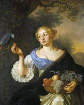 Ary de Vois, Young Woman with a Parrot, circa 1660-80