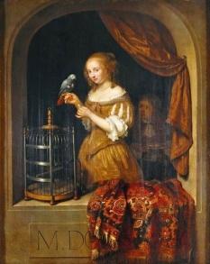 Caspar Netscher (1635-1684) Lady at the Window (1666)