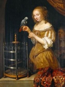 Caspar Netscher (1635-1684) Lady at the window, 1666